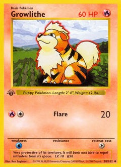 Growlithe card for Base Set