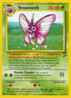 Venomoth card for Base Set 2