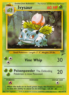 Ivysaur card for Base Set 2