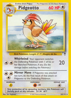 Pidgeotto card for Legendary Collection