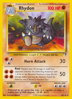 Rhydon card for Legendary Collection