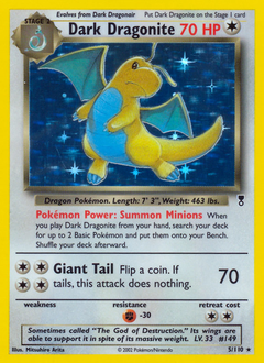 Dark Dragonite card for Legendary Collection