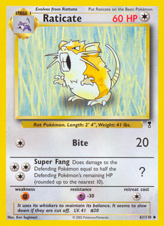 Raticate card for Legendary Collection