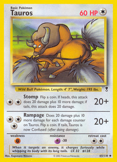 Tauros card for Legendary Collection