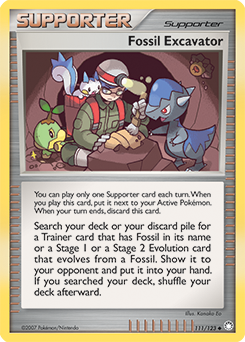 Fossil Excavator card for Mysterious Treasures