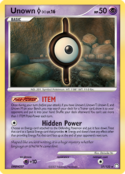 Unown I card for Mysterious Treasures