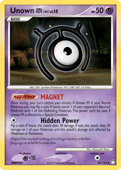 Unown M card for Mysterious Treasures