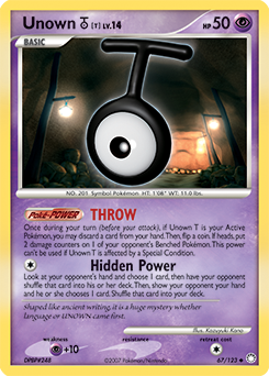 Unown T card for Mysterious Treasures