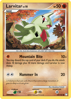 Larvitar card for Mysterious Treasures