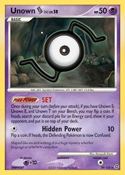 Unown S card for Secret Wonders