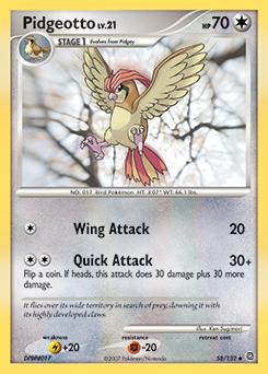 Pidgeotto card for Secret Wonders