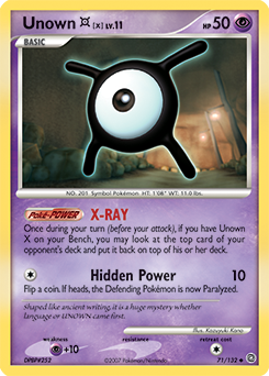 Unown X card for Secret Wonders