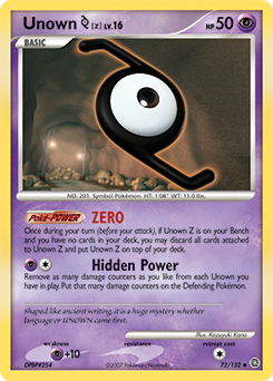Unown Z card for Secret Wonders