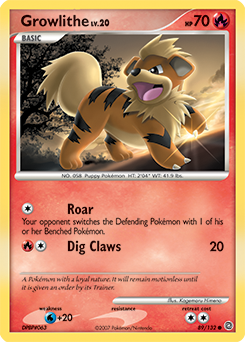 Growlithe card for Secret Wonders