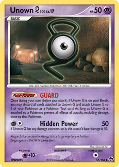 Unown G card for Great Encounters