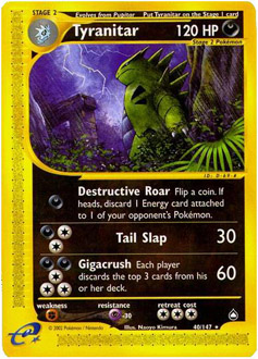 Tyranitar card for Aquapolis