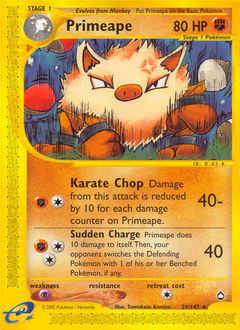 Primeape card for Aquapolis