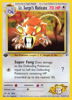 Lt. Surge's Raticate card for Gym Heroes