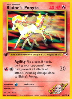 Blaine's Ponyta card for Gym Heroes