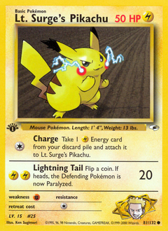 Lt. Surge's Pikachu card for Gym Heroes