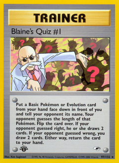 Blaine's Quiz #1 card for Gym Heroes