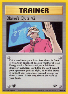 Blaine's Quiz #2 card for Gym Challenge