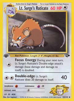 Lt. Surge's Raticate card for Gym Challenge