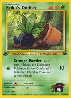 Erika's Oddish card for Gym Challenge