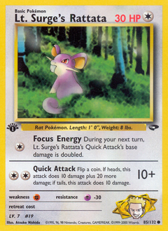 Lt. Surge's Rattata card for Gym Challenge