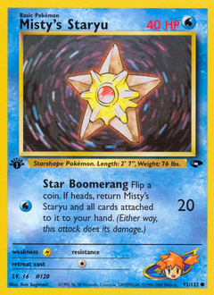 Misty's Staryu card for Gym Challenge