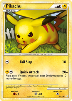 Pikachu card for HeartGold & SoulSilver