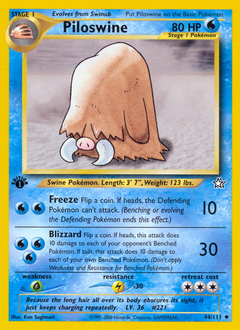 Piloswine card for Neo Genesis