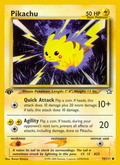 Pikachu card for Neo Genesis
