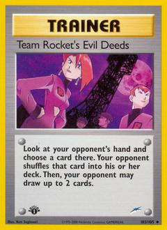 Team Rocket's Evil Deeds card for Neo Destiny