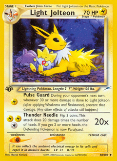 Light Jolteon card for Neo Destiny