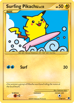 Surfing Pikachu card for Rising Rivals