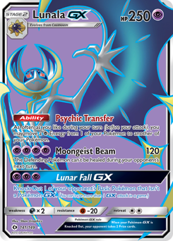 Lunala-GX card for Sun & Moon