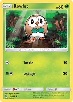 Rowlet card for Sun & Moon