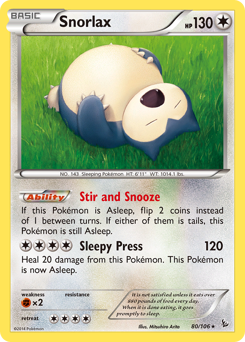 Snorlax card for Flashfire